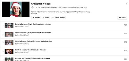 tribe playlist of audio Christmas interviews